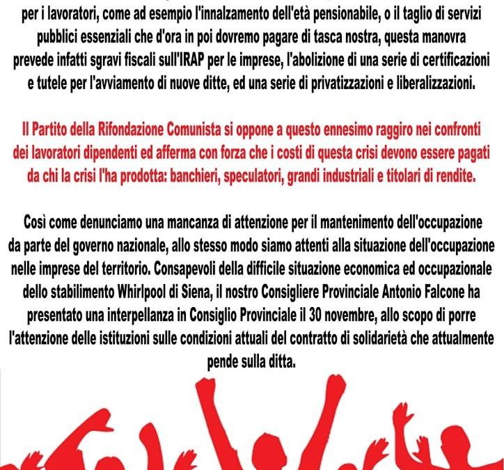 Contro la manovra Monti ed i ricatti di licenziamento
